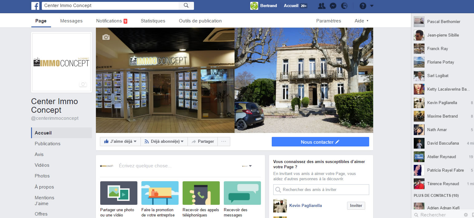 Cr ation page facebook salon de provence icone internet agence de communication chateaurenard - Immo concept salon de provence ...