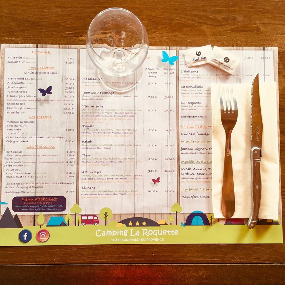 set de table publicitaire menu