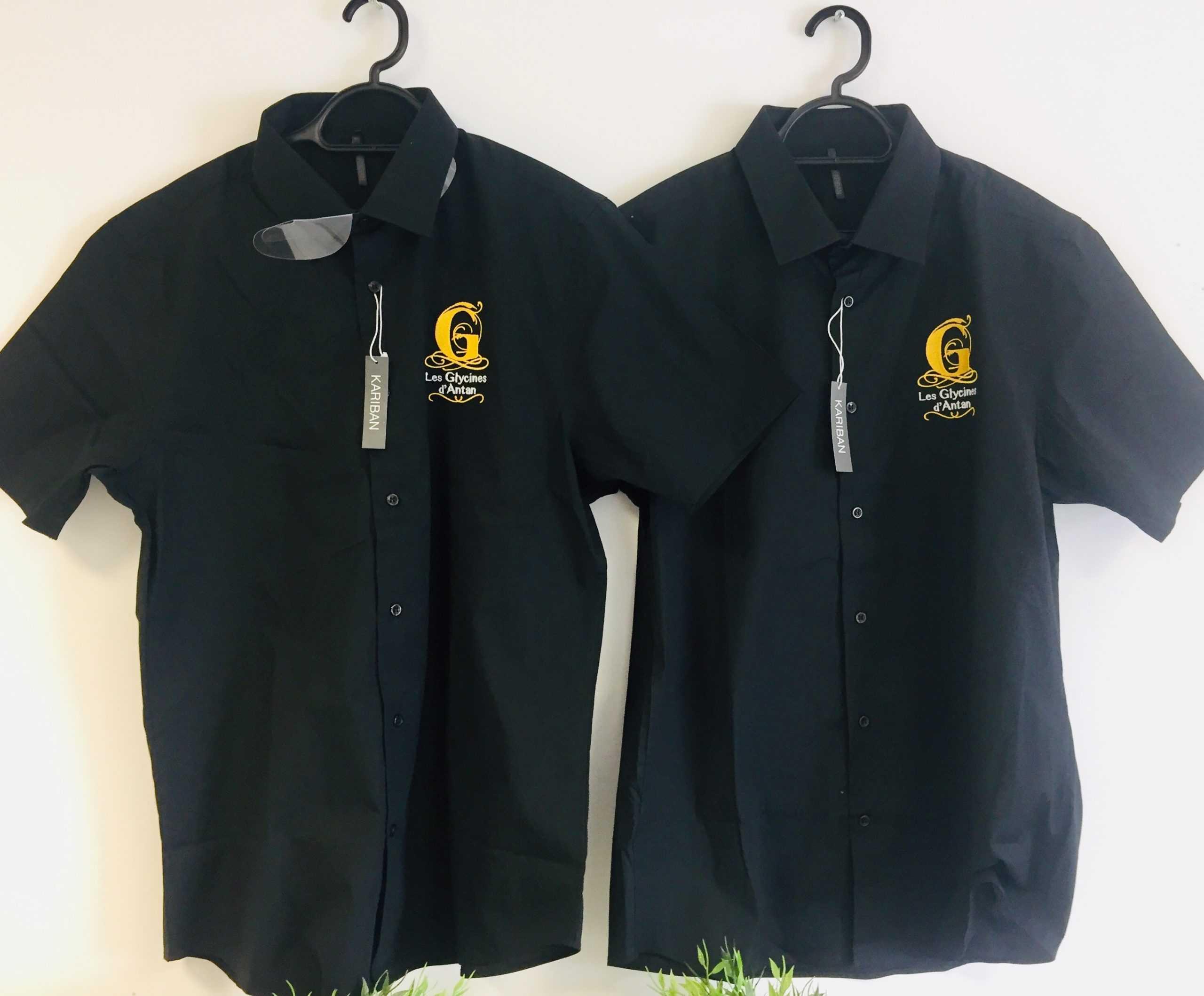 Chemises marquages coeurs en broderie