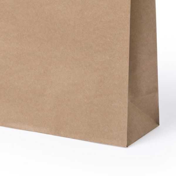 Sac en papier 100 g/m2 avec soufflet et poignées courtes renforcées. Finition naturel. Résistance jusqu´à 7 kg. Papier 100 g/ m2