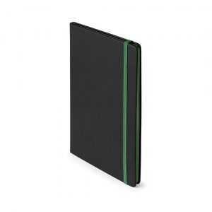 Bloc notes avec couverture toucher doux dans une élégante finition en similcuir noir. 80 feuilles unies avec tranche contrastée disponible dans des couleurs amusantes. Fermeture par élastique et marque-page en tissu assorti. Couverture Rigide. 80 Feuilles Similicuir