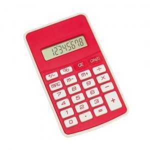 Calculatrice à 8 chiffres de conception bicolore originale avec couleurs vives et clavier souple. Pile bouton incluse avec film de protection. Présentée dans une boîte individuelle. Pile Bouton Inclus
