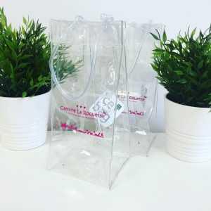 Ice bag transparent personnalisé camping rosé