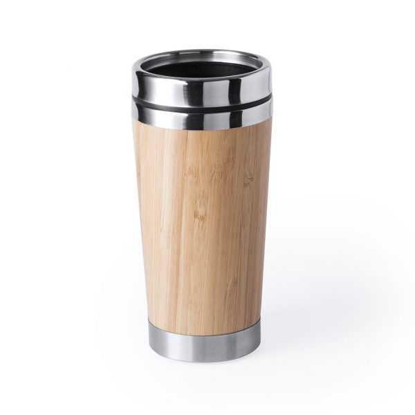 Gobelet de voyage en acier inoxydable de finition bambou, d une capacité de 500 ml. Avec couvercle dosificateur de sécurité. Présentation boite individuelle design. 500 ml. Présentation Individuelle Bambou/ Acier Inox