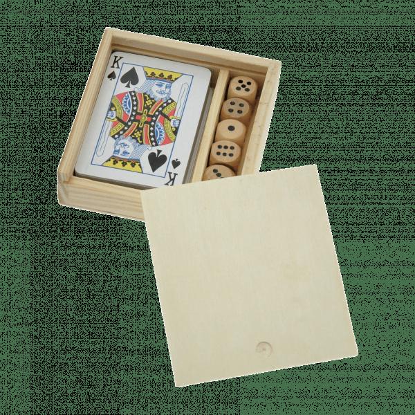 Coffret 54 cartes + 5 dés personnalisé